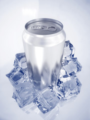 a silver soda can with ice cubes