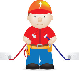 illustration of a modern friendly electrician character