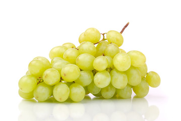 One cluster of green grapes