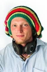 portrait of man in a rasta cap