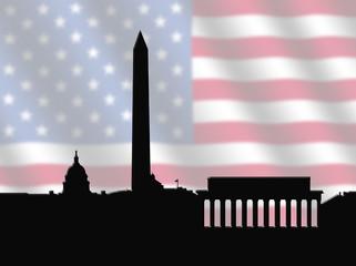 Washington DC skyline with American Flag