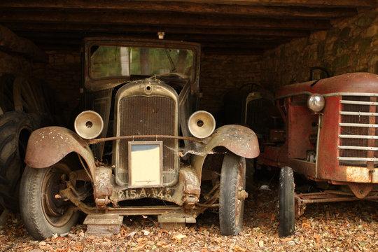 Forgotten old vintage cars in barn, dordogne, france.