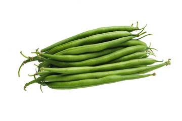 bunch of green beans isolated