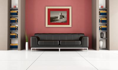 modern interior with bookshelf