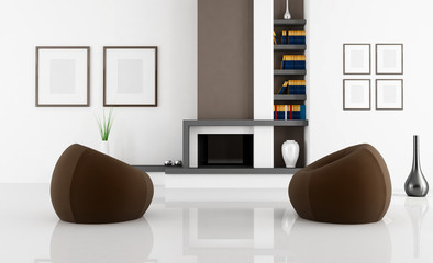white and brown fireplace room - rendering