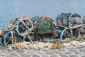Lobster pots on the quay