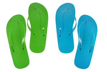 Green and blue flip-flops