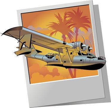 Vector retro seaplane