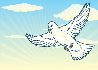 Dove in flight against a bright blue sky illustration