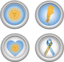 Argentina Buttons with ribbon, heart, map and flag