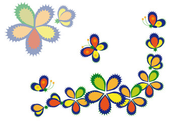 ornamentation of decorative flowers and butterflies