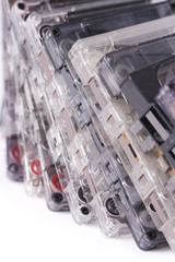 old cassettes  on white background