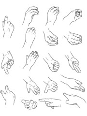 various hand poses