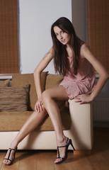a girl in the livingroom