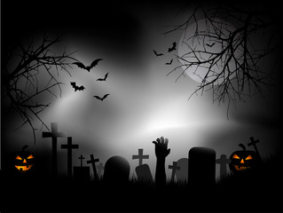 Zombie hand in graveyard