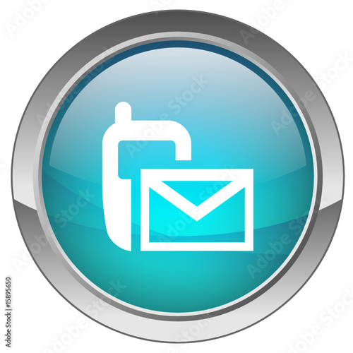 Orb Button With Text Message Symbol Blue Stock Image And Royalty
