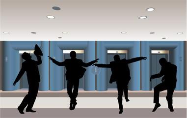 happy businessman silhouette in corridor vector