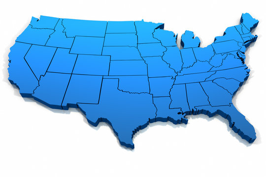 United States blue map outline