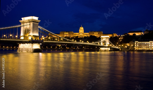 Wall mural Chain bridge and budai castle Budapest, Hungary