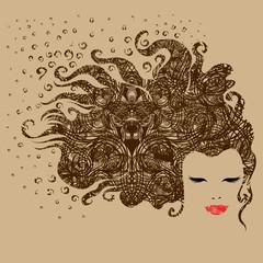Grunge ornate portrait of a beautiful vintage girl