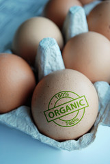 """Eggs stamped """"100% Organic"""""""