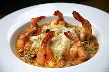 Shrimp and Grits in White Bowl