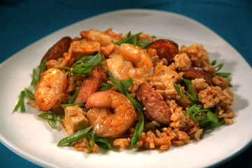 Shrimp, Chicken, and Beef Jumbalaya with Scallions