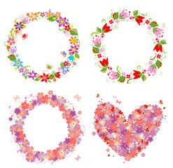 Flower wreath and heart shape