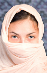 arabian girl on blue background