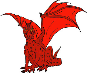 vector - red dragon isolated on background
