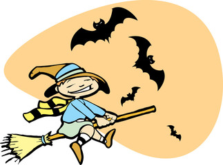 Young Witch with Bats