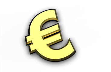 golden Euro symbol isolated on a white background