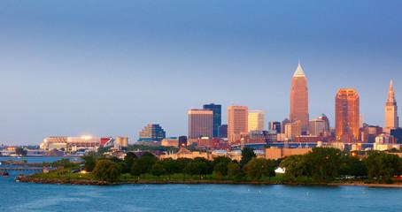 Cleveland, Ohio, twilight panorama just after sunset