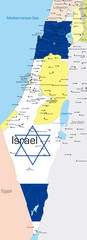 Israel country colored by national flag