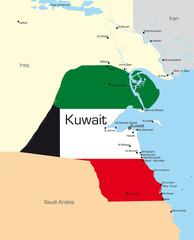 Kuwait country colored by national flag