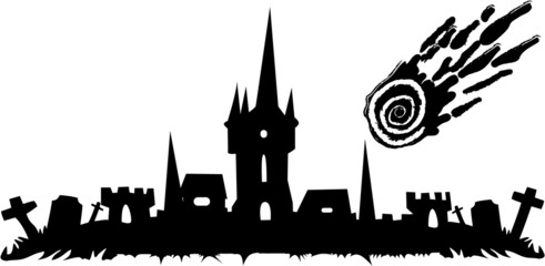 the vector halloween cemetery and castle banner