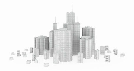 Glass and Steel, White Wireframe Models