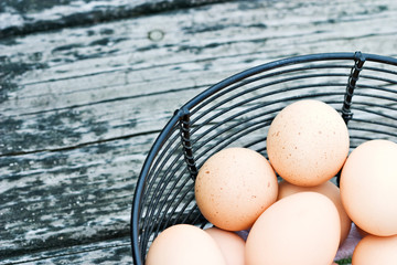 Basket of freshly laid free range eggs on rustic background.