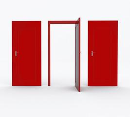 trois portes rouges