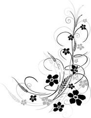 Blume, Ranke, filigran, floral, mit Gräsern und Ähren
