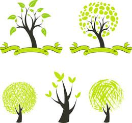 set of green tree