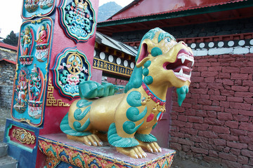 Lion at the gate of Tengboche buddhist monastery, Nepal