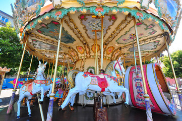 Photo of a vintage carousel seen in France