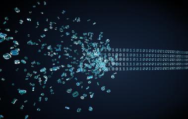 flowing binary code in the dark