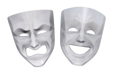 Comedy and tragedy grotesque theater masks. 3D rendered image