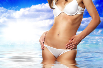 Sexy lady body wearing white swimsuit