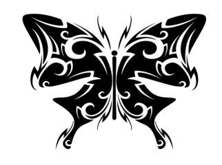 Isolated butterfly tattoo