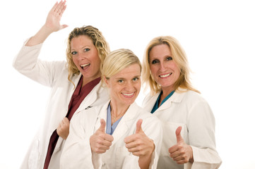 three nurses medical females with serious expression