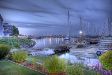 Marina at dusk, HDR