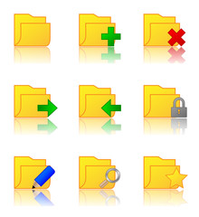 Web Icons (Folders) with reflection (x9)